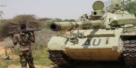 Somalia - AMISOM tank in the brush (Sabahi)