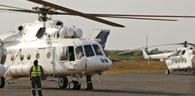 A UN Mi-8 helicopter very similar to this was involved in the alleged shooting which claimed the lives of three Russian nationals. (AP)
