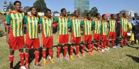 Ethiopia - National soccer team lines up before match